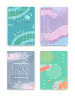 Conjunto de design de capa. projeto geométrico abstrato do conceito criativo, fundo colorido de memphis.