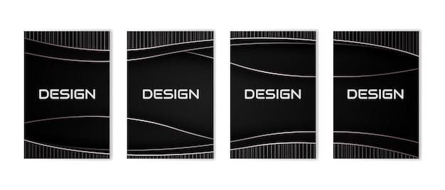 Conjunto de design de capas mínimas fundo de luxo abstrato preto e dourado