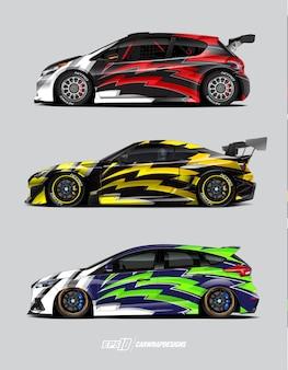 Conjunto de design de carro de corrida