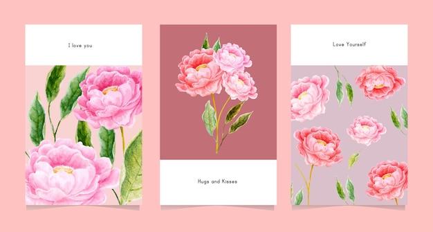 Conjunto de design de cartão com aquarela floral