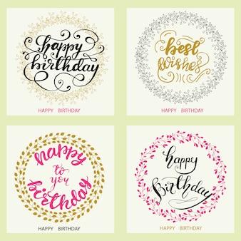 Conjunto de design de cartão de aniversário com letras. ilustração do vetor.