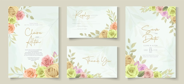 Conjunto de design de cartão de casamento com lindas rosas