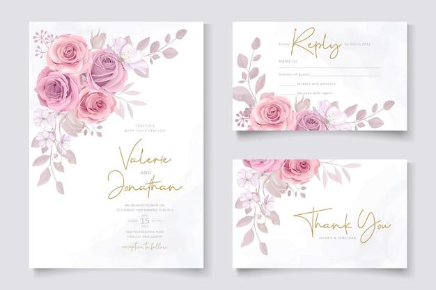 Conjunto de design de cartão de casamento com rosas cor de rosa
