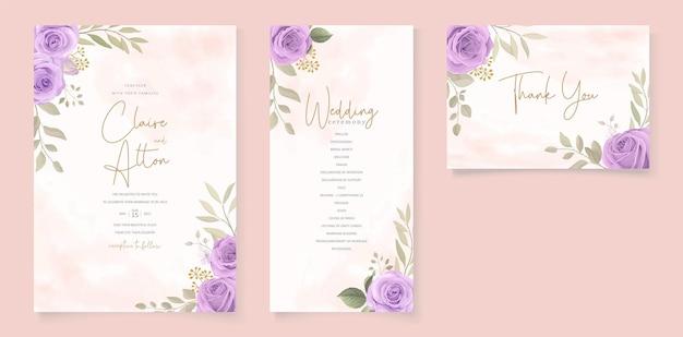 Conjunto de design de cartão de casamento com rosas roxas