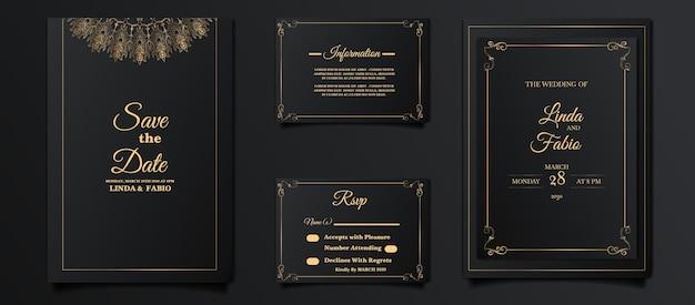Conjunto de design de cartão de convite de casamento de luxo