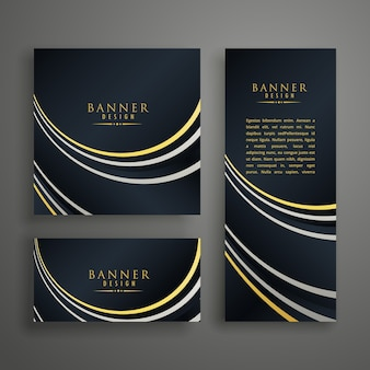 Conjunto de design de cartão de convite de ouro escuro moderno