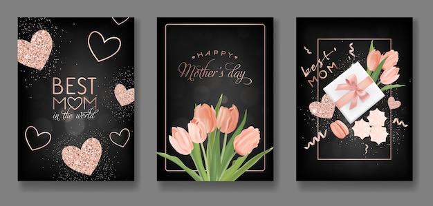 Conjunto de design de cartão de dia das mães. folheto de feliz dia das mães com flores, presentes e corações de glitter dourado para cartaz, banner, convite. ilustração vetorial