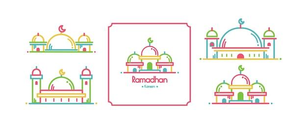 Conjunto de design de cartão de ramadã