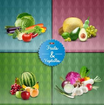 Conjunto de design de cartaz de frutas e vegetais
