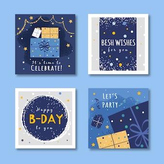 Conjunto de design de cartões de aniversário