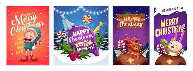 Conjunto de design de cartões de feliz natal e feliz ano novo com personagens de natal