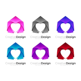 Conjunto de design de casa colorido, combinação de design de casa e amor