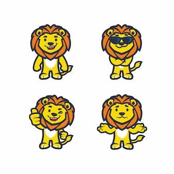 Conjunto de design de catoon de vetor de leão legal para crianças