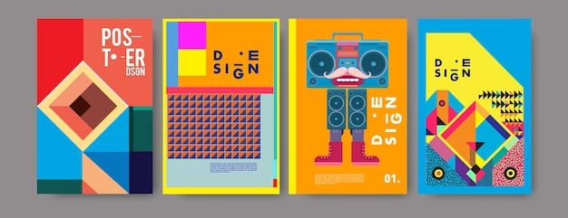Conjunto de design de colagem de cartaz vintage colorido