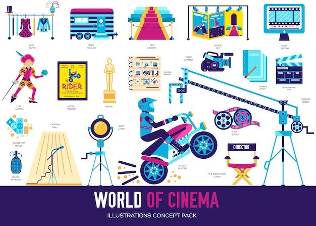 Conjunto de design de coleção plana da indústria de cinema de qualidade premium