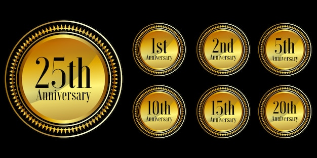 Conjunto de design de comemoração de aniversário dourado premium vecto