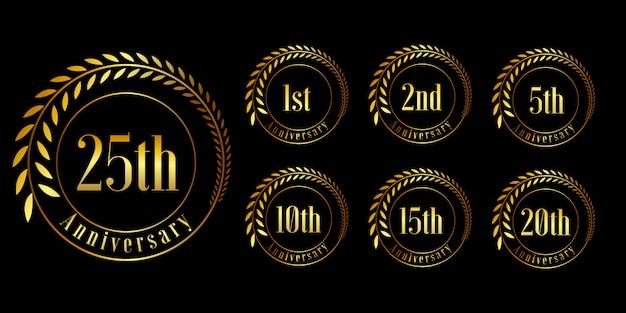 Conjunto de design de comemoração de aniversário dourado