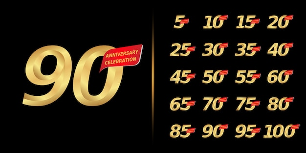 Conjunto de design de comemoração de aniversário dourado.