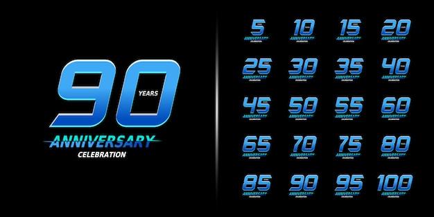 Conjunto de design de comemoração de aniversário moderno.