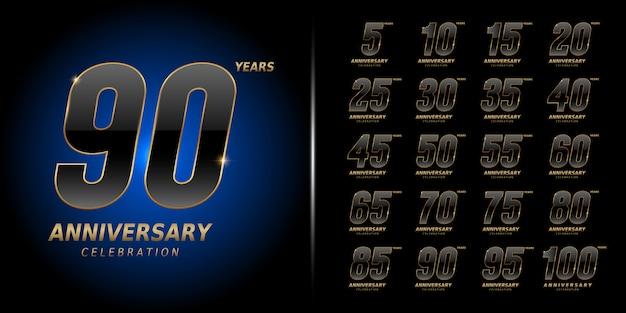 Conjunto de design de comemoração de aniversário premium.