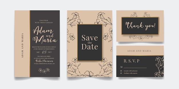 Conjunto de design de convite de casamento de luxo floral moderno contorno mão desenhada ou modelos de cartão para casamento ou moda ou saudação com textura de flor de ouro em um pacote de fundo elegante de cor creme