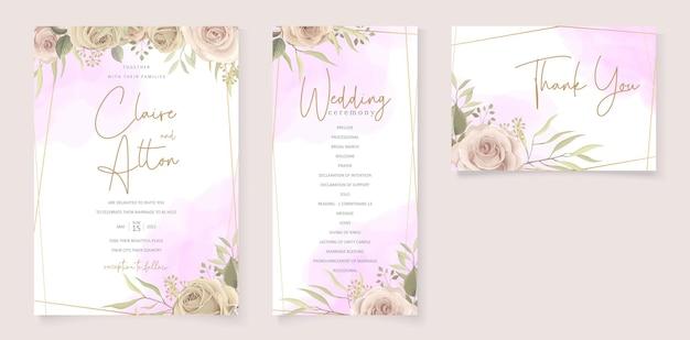 Conjunto de design de convite de casamento floral elegante