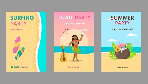 Conjunto de design de convite de festa luau colorido. convites de eventos de resort havaiano brilhante com texto. conceito de férias e verão do havaí. modelo de folheto, banner ou panfleto