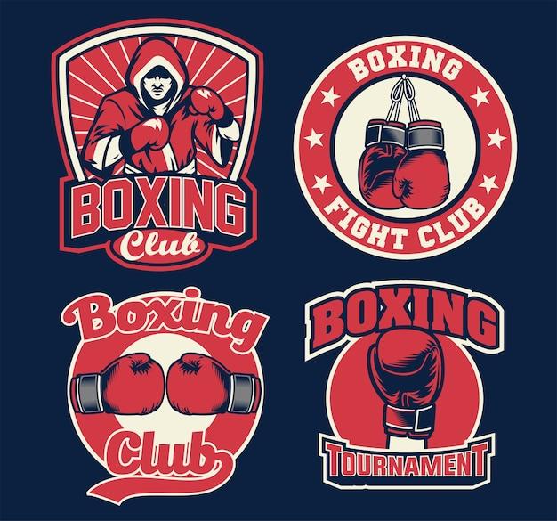 Conjunto de design de crachá de boxe