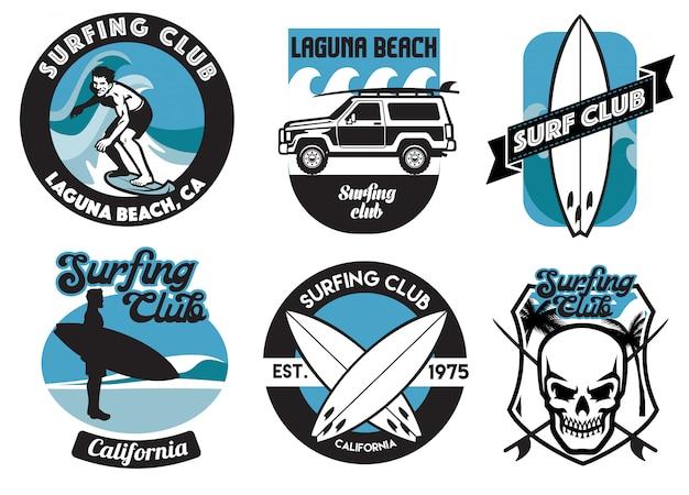 Conjunto de design de crachá de surf