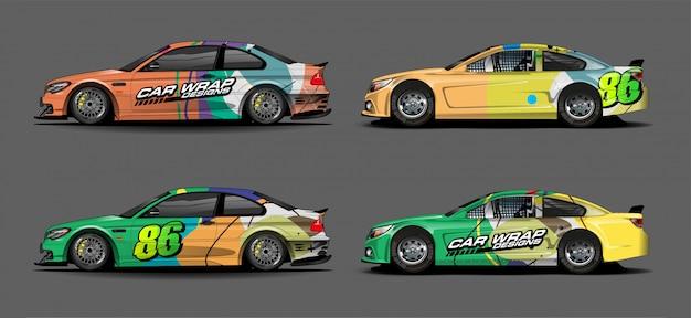 Conjunto de design de decalques de carro colorido
