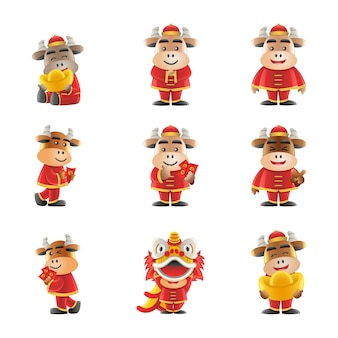 Conjunto de design de desenho animado de ano novo chinês bonito no ano de boi
