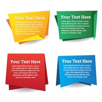 Conjunto de design de discurso de bandeira de papel