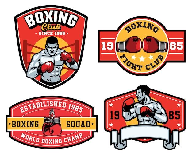 Conjunto de design de distintivo de boxe isolado no branco