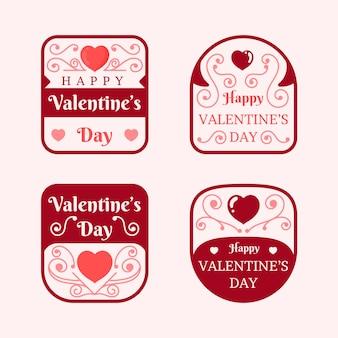 Conjunto de design de distintivo de dia dos namorados plana