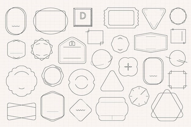 Conjunto de design de distintivo mínimo em branco