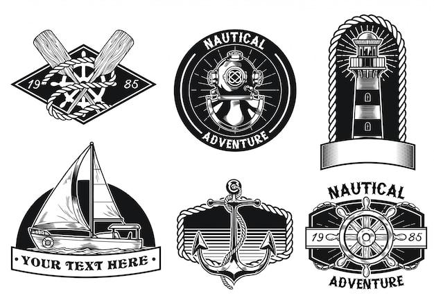 Conjunto de design de distintivo náutico