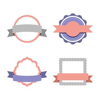 Conjunto de design de distintivo pastel
