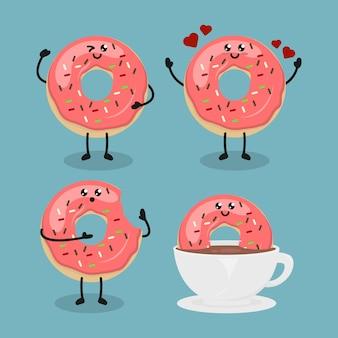 Conjunto de design de donut de morango fofo