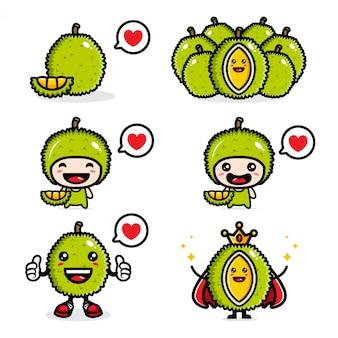 Conjunto de design de durian fresco