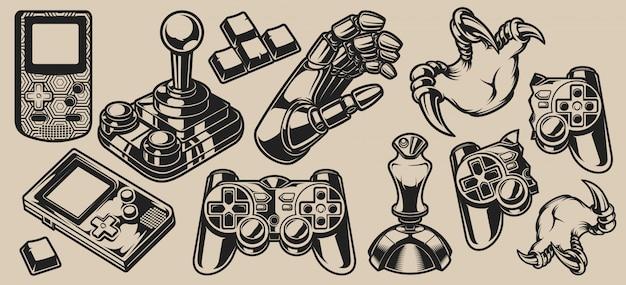 Conjunto de design de elementos do vetor para o tema de jogos em um branco
