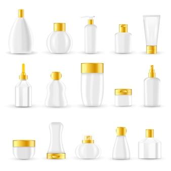 Conjunto de design de embalagens de cosméticos