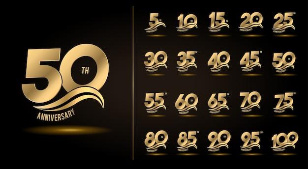 Conjunto de design de emblema de celebração de aniversário com onda de ouro