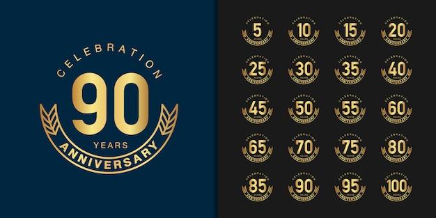 Conjunto de design de emblema de comemoração de aniversário de ouro.