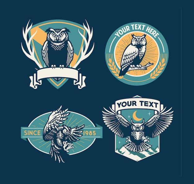 Conjunto de design de emblema de coruja