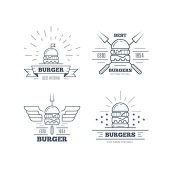 Conjunto de design de emblema de hambúrgueres isolado no fundo branco Vetor Premium