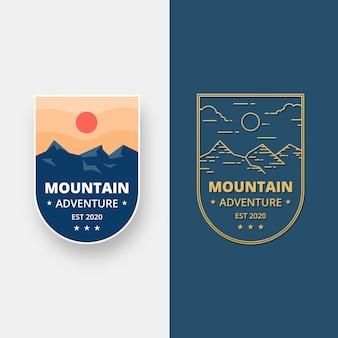 Conjunto de design de emblema de paisagem. emblema do logotipo de aventura de montanha em design plano. ilustração do logotipo.