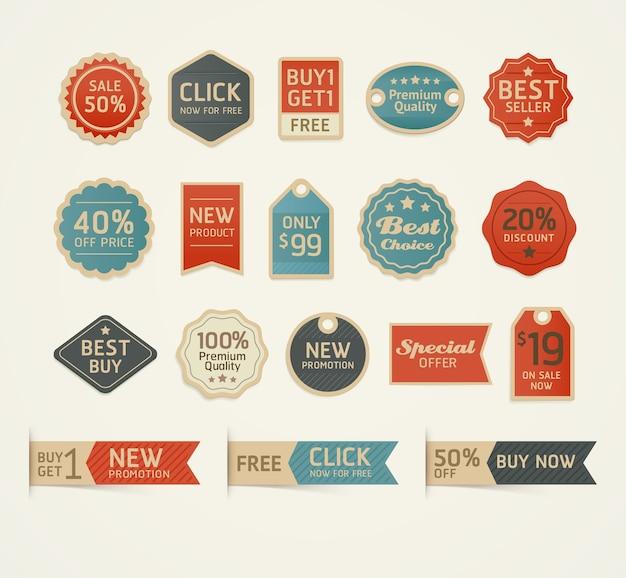 Conjunto de design de emblemas e etiquetas vintage retrô.