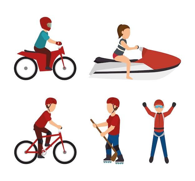 Conjunto de design de esportes radicais isolado
