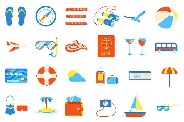 Conjunto de design de estilo plano de elementos de férias, férias, praia