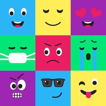 Conjunto de design de estilo plano de padrão sem emenda de emoji modelo de emoticon facial engraçado da internet